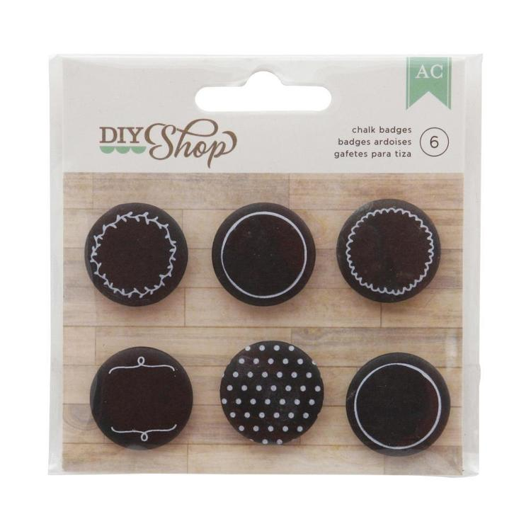 American Crafts DIY Shop Adhesive Badges Chalkboard