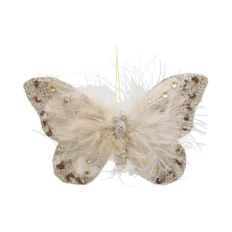 Critters Feather Butterfly On Clip Gold 13.5 cm