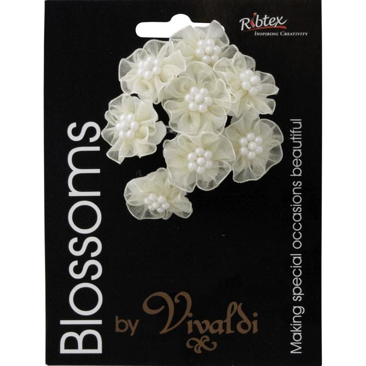 Vivaldi Blossoms 8 Head Organza Daisy With Pearls