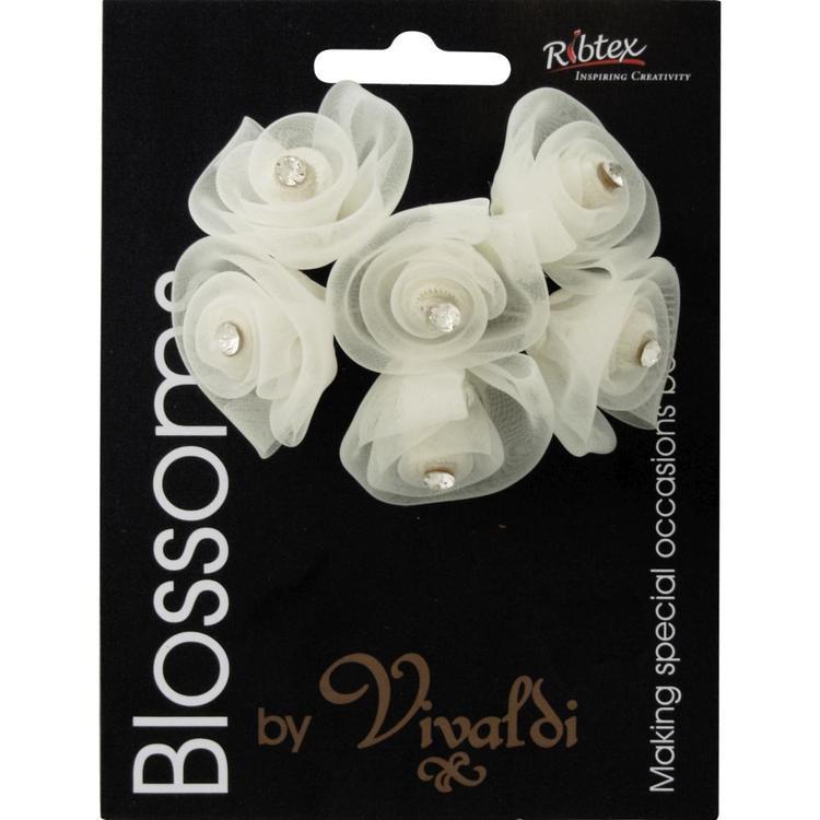 Vivaldi Blossoms 6 Head Organza Flower With Diamante