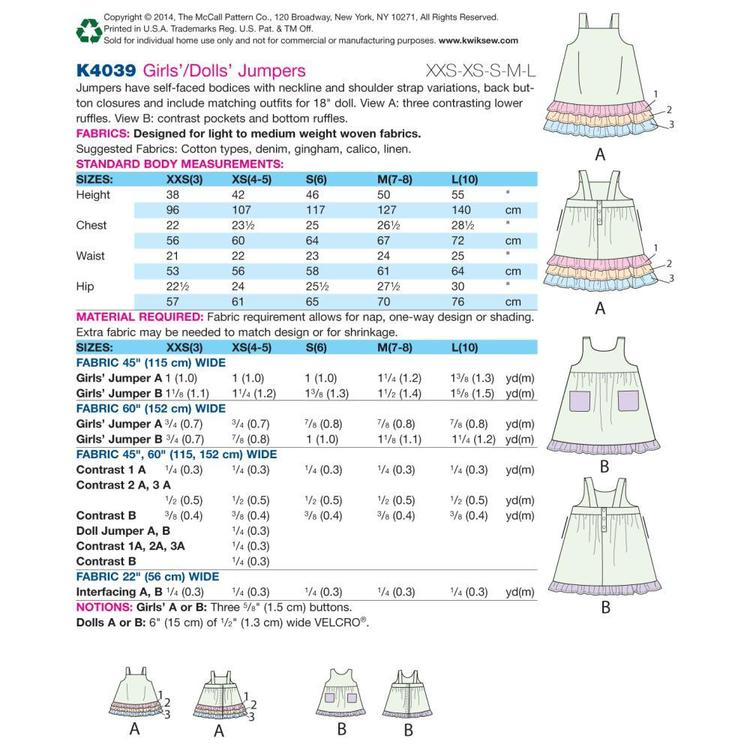 Kwik Sew K4039 Girls' Jumpers One Size