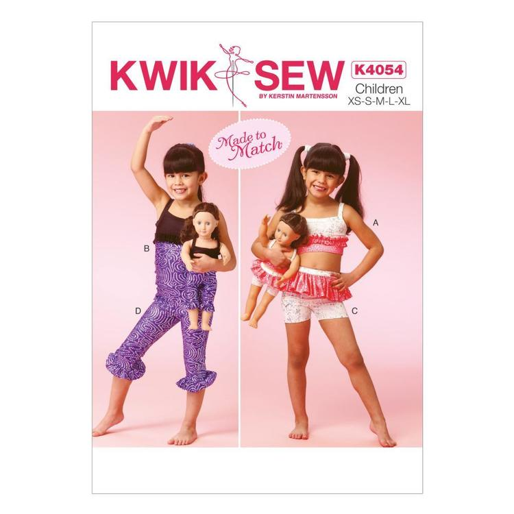 Kwik Sew Pattern K4054 Girls' Tops Shorts & Leggings