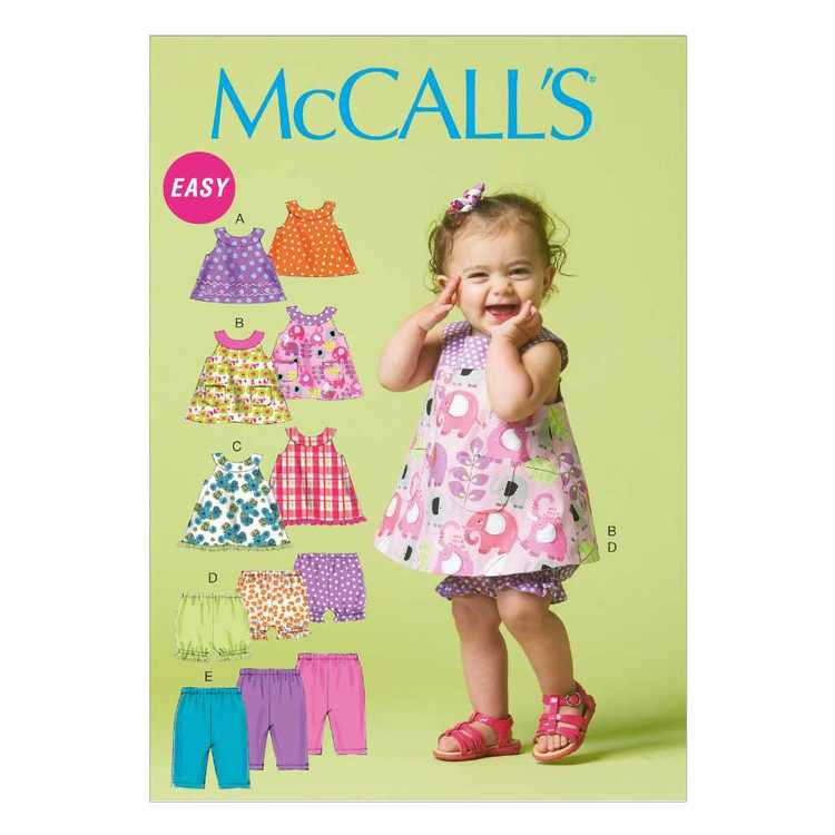 McCall's Pattern M6912 Infants' Reversible Top Dresses Bloomers & Pants All Sizes