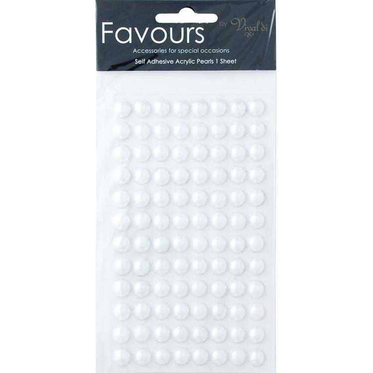 Ribtex Favours 96 Adhesive Pearls White