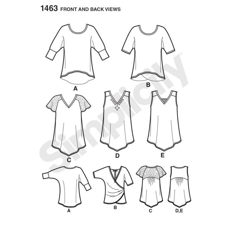 Simplicity Pattern 1463 Women's Top  XX Small - XX Large