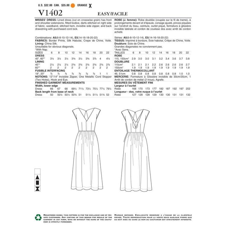 Vogue Pattern V1402 Misses' Dress
