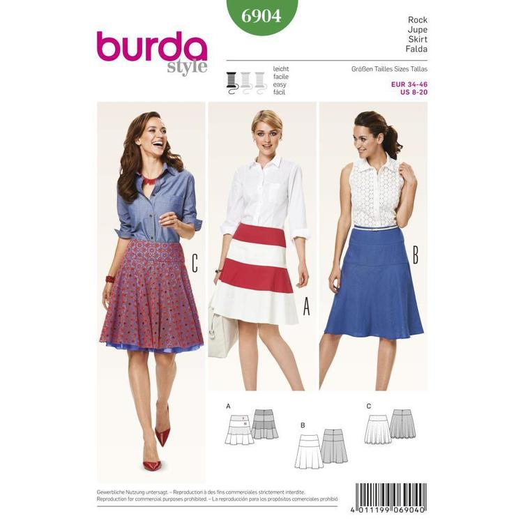 Burda Pattern 6904 Women's Skirt  8 - 20