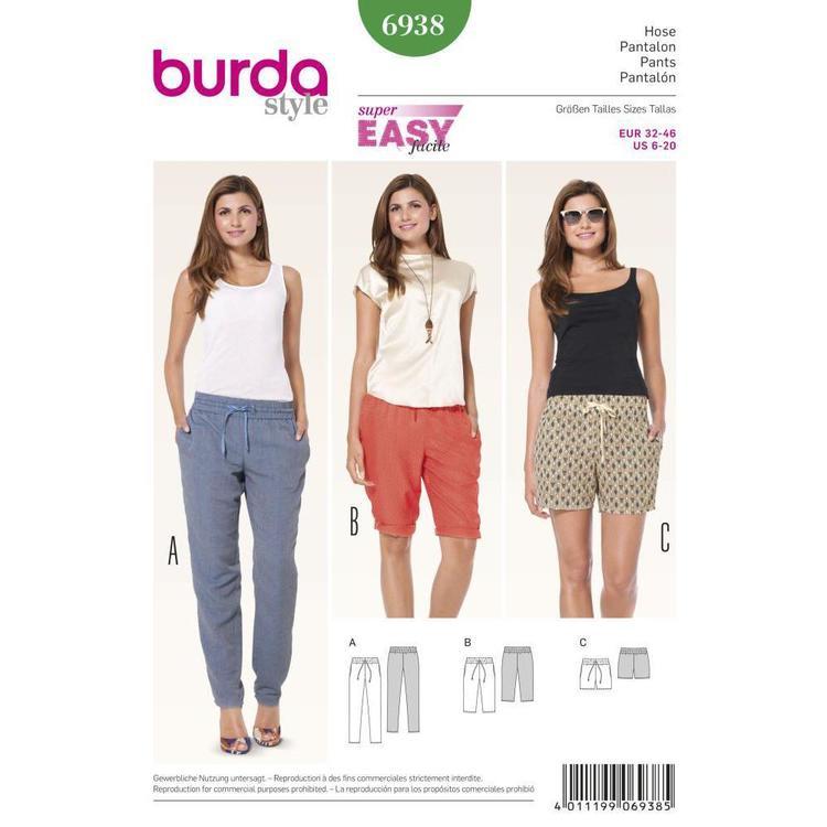 Burda Pattern 6938 Women's Pants