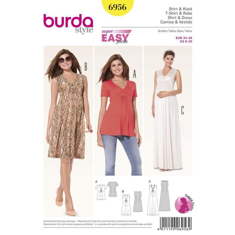 Burda Pattern 6956 Women's Maternity Blouse And Dress