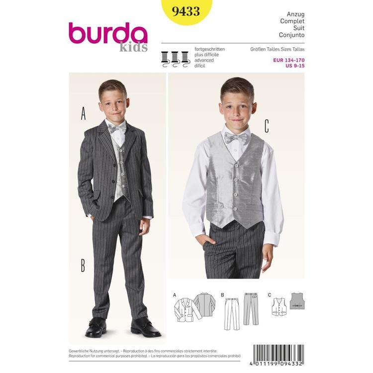 Burda Pattern 9433 Boy's Evening Wear