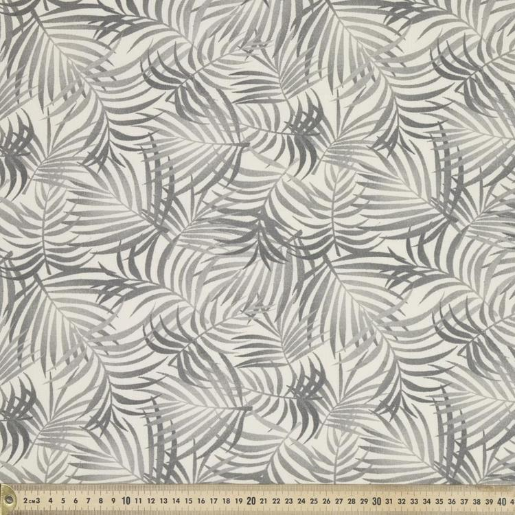 Leafy Printed Fabric Charcoal 120 cm - Everyday Bargain