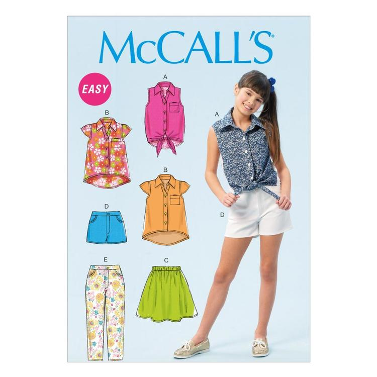 McCall's M6951 Girls' Plus Tops Skirt Shorts & Pants