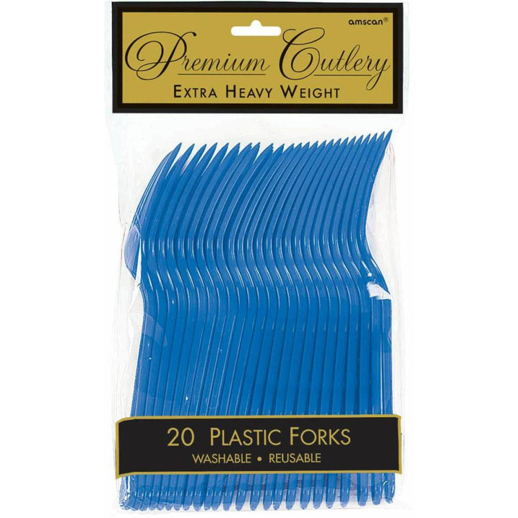 Amscan Bright Royal Blue Heavy Weight Plastic Forks 20 Pack