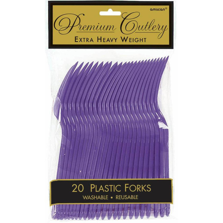 Amscan New Purple Heavy Weight Plastic Forks 20 Pack New Purple - Everyday Bargain