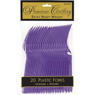 Amscan New Purple Heavy Weight Plastic Forks 20 Pack
