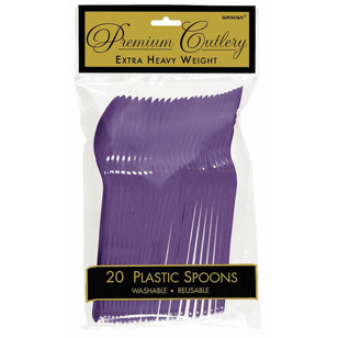 Amscan New Purple Heavy Weight Plastic Spoons 20 Pack