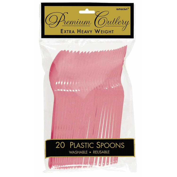 Amscan New Pink Heavy Weight Plastic Spoons 20 Pack