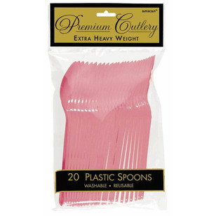 Amscan New Pink Heavy Weight Plastic Spoons 20 Pack - Everyday Bargain