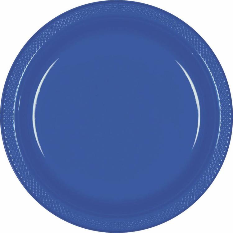 Amscan Bright Royal Blue Plastic Round Plates 20 Pack