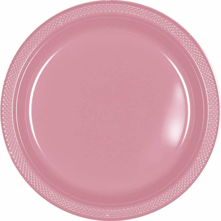 Amscan New Pink Plastic Round Plates 20 Pack