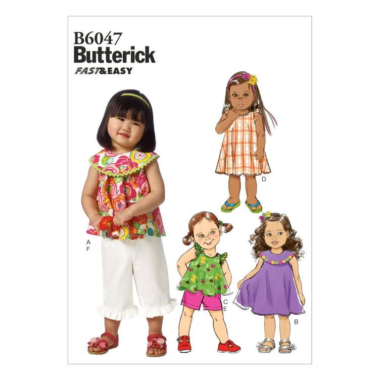 Butterick Pattern B6047 Toddlers' Top Dress Shorts & Pants