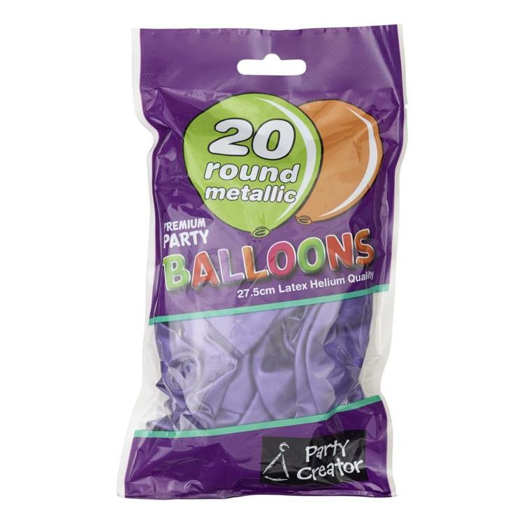 Party Creator Metallic Balloons 20 Pack