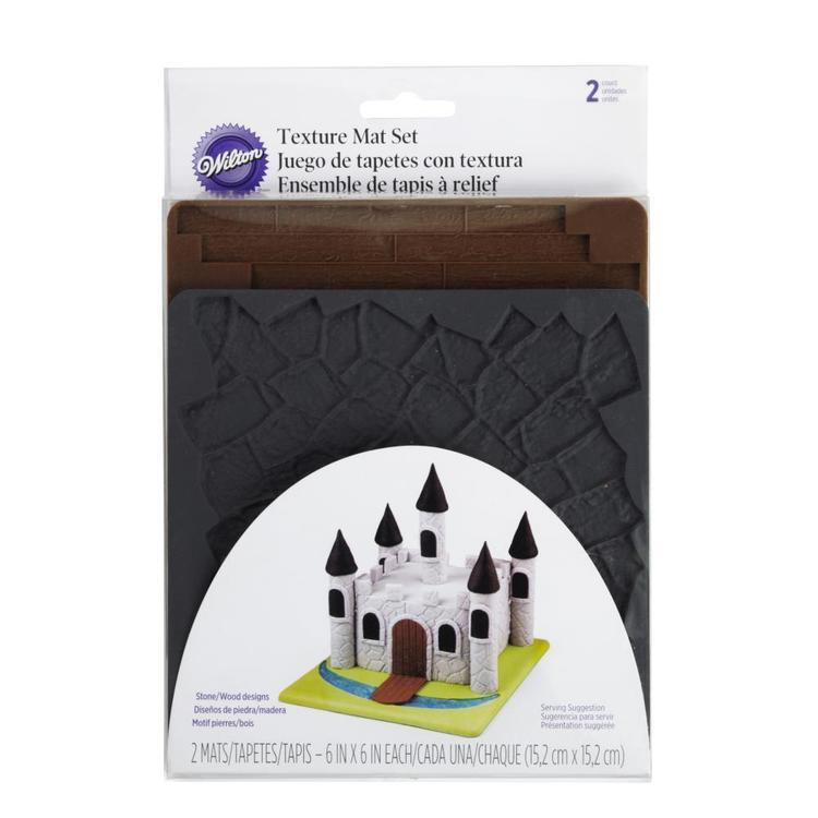 Wilton Stone and Wood Silicone Texture Mat 2 Pack Black & Brown
