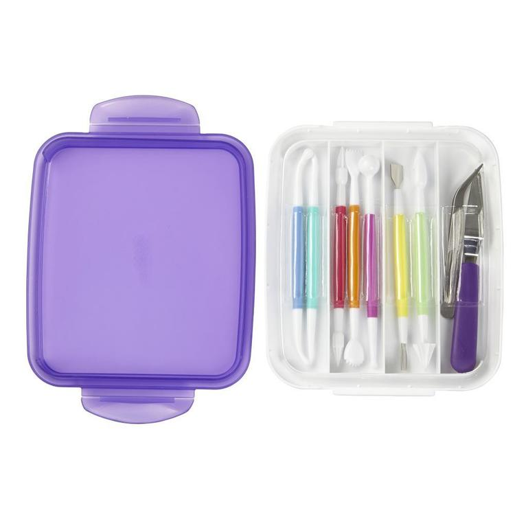 Wilton 10 Piece Fondant & Gum Paste Tool Set White & Purple