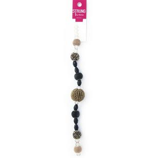 Ribtex Strung Squashed Faceted Metal & Glass Beads