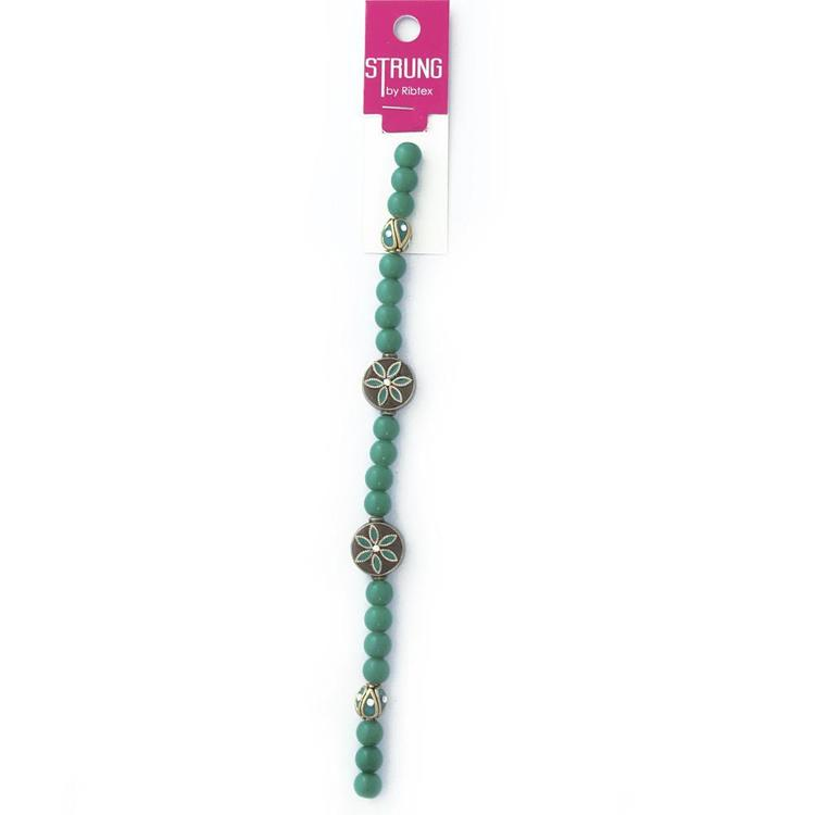 Ribtex Strung Flat Round Flowers & Beads Green