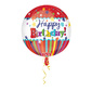 Foil Orbz Stripes & Bursts Balloon Red 43cmx45cm