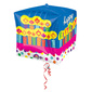 Foil Cubz Birthday Cake Balloon Multicoloured 38cmx38cm