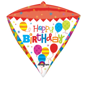 Amscan Foil Diamondz Happy Birthday Geo Balloon