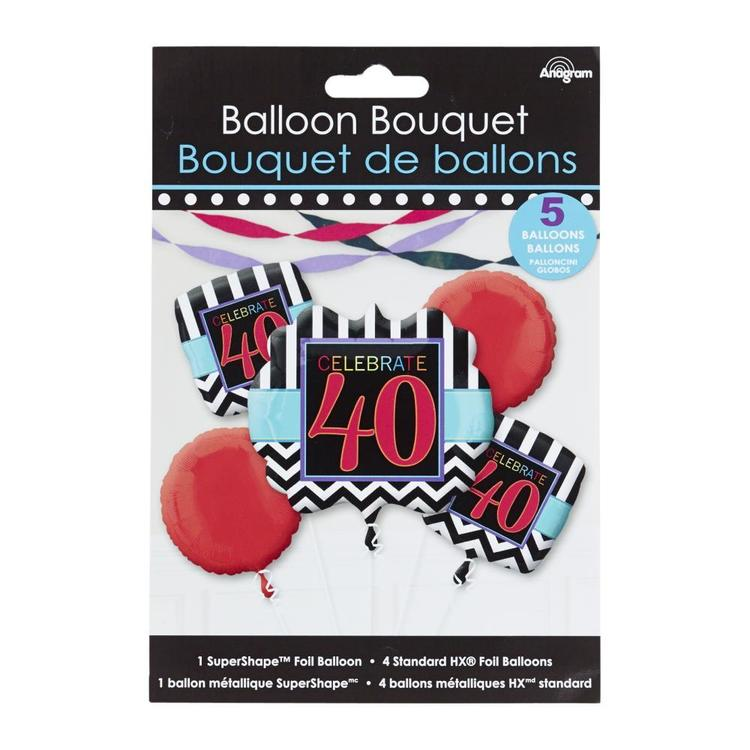 Amscan Celebrate 40 Foil Balloon Bouquet Black & White