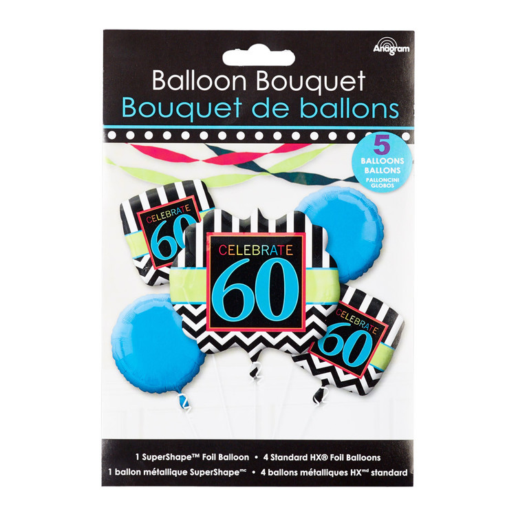 Amscan Celebrate 60 Foil Balloon Bouquet Black & White