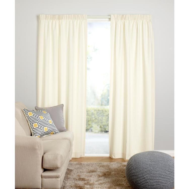Que Calico Thermal Pencil Pleat Curtain Natural