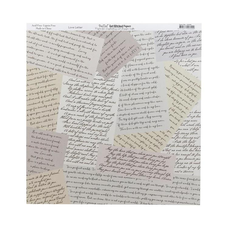 Bella! Get Hitched Love Letter Double-Sided Cardstock Multicoloured 30 x 30 cm