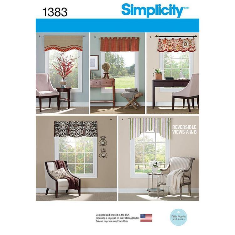 Simplicity Pattern 1383 Window Valances