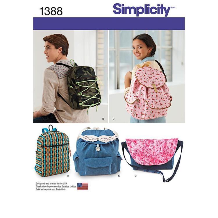 Simplicity Pattern 1388 Backpack & Messenger Bag