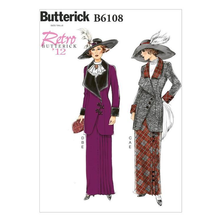 Butterick Pattern B6108 Misses' Jacket Bib & Skirt