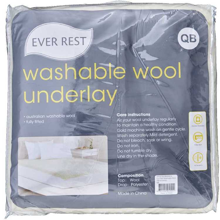 Ever Rest Washable Wool Fitted Underlay White
