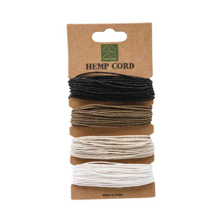 Shamrock Craft Naturals Hemp Cord 4 Pack Black, Brown & Natural 1 mm