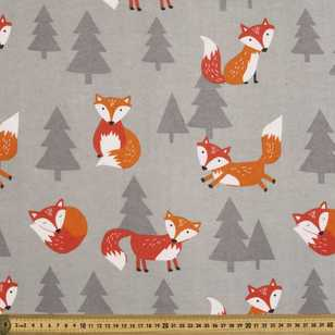 Frolic Foxes Printed Flannelette
