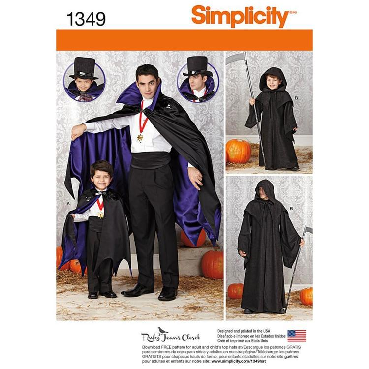 Simplicity 1349 Boy's Cape  Small - X Large