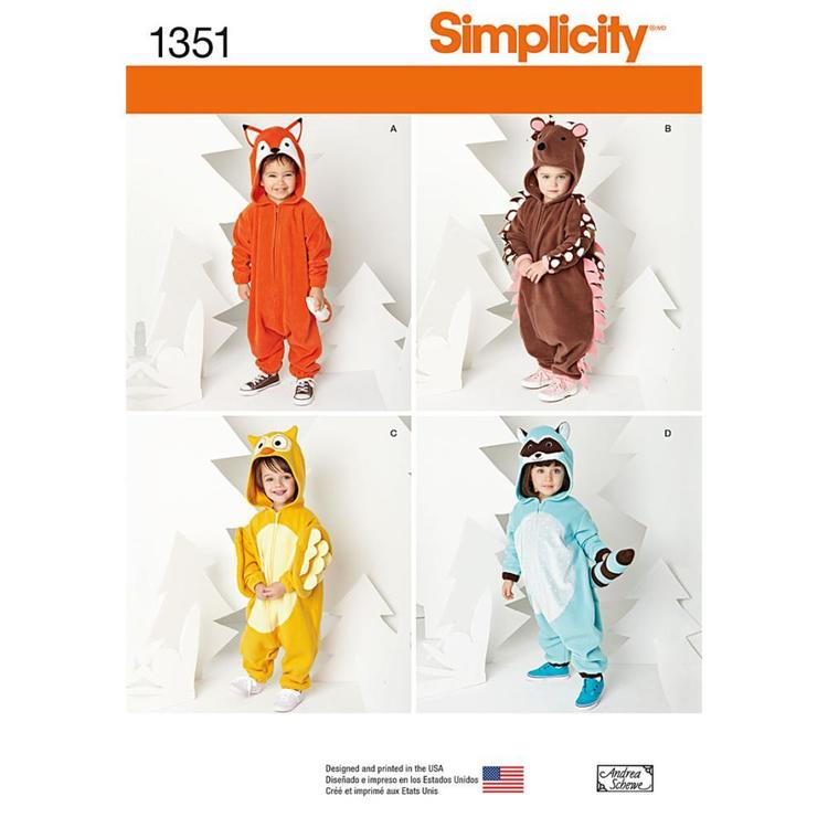 Simplicity Pattern 1351 Kid's Animal Costume Pattern 6 Months - 4 Years