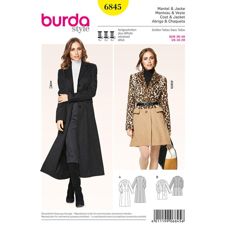 Burda Pattern 6845 Women's Coat