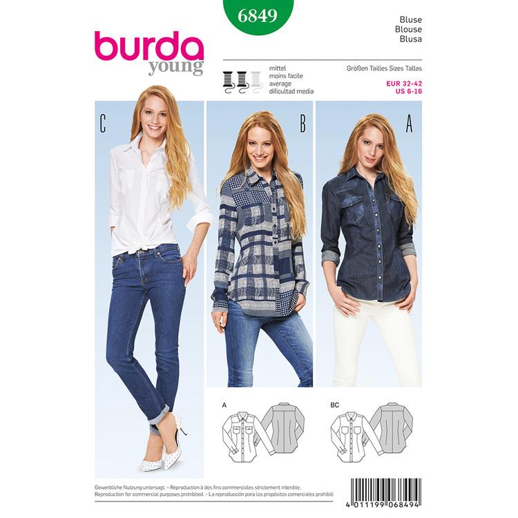 Burda Pattern 6849 Women's Blouse