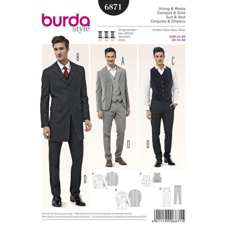 Burda Pattern 6871 Men's Formal Suit