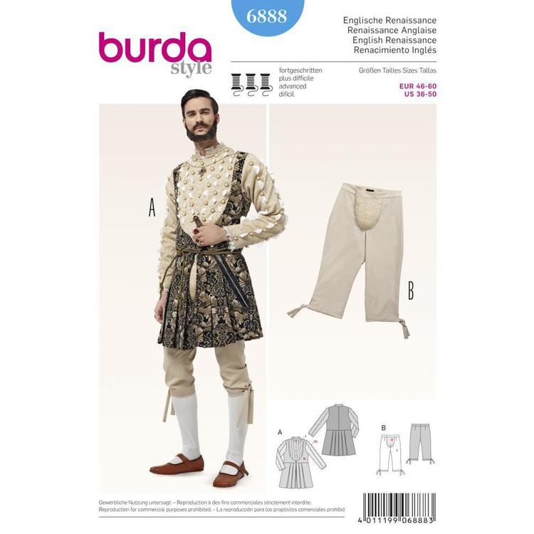Burda Pattern 6888 Historical Costume  36 - 50