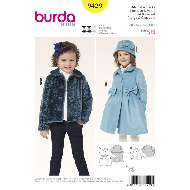Burda 9429 Girl's Jacket  2 - 8